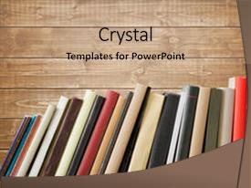 Presentation theme enhanced with old books on a wooden background and a coral colored foreground.
