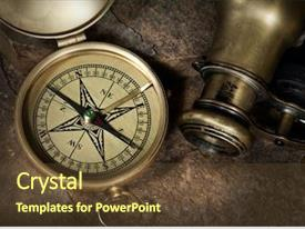 Presentation design having old compass background and a tawny brown colored foreground