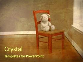 PPT theme with old fashioned bear on chair background and a  colored foreground.
