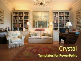PPT layouts consisting of old fashioned - luxury and classic style living background and a tawny brown colored foreground.