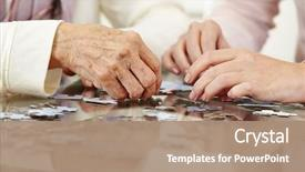 Audience pleasing PPT theme consisting of old hands solving jigsaw puzzle backdrop and a coral colored foreground