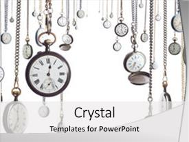 PPT layouts featuring old style clocks on watch background and a white colored foreground.