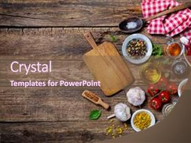 PPT theme having old wooden table food background and a violet colored foreground.