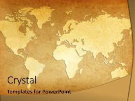 Powerpoint Template Old Fashioned Gold World Map And Countries On