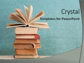 Presentation theme featuring open book stack of hardback background and a light blue colored foreground