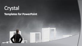 Amazing PPT theme having open new doors and opportunities backdrop and a dark gray colored foreground