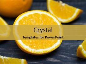 Slide deck enhanced with orange orange fruit orange fruit background and a gold colored foreground.