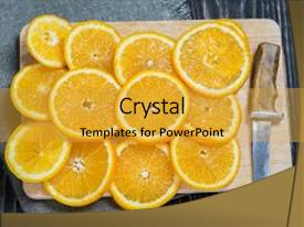PPT theme consisting of orange orange fruit orange fruit background and a yellow colored foreground.