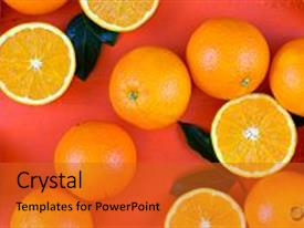 PPT layouts featuring oranges fruit on orange wood table overhead background and a red colored foreground.