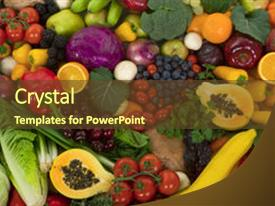 Presentation enhanced with organic healthy vegetables and fruits background and a tawny brown colored foreground.