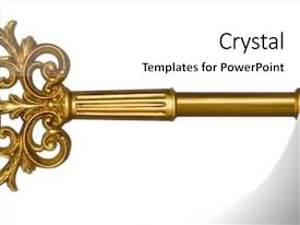 Audience pleasing PPT theme consisting of ornate gold master key backdrop and a cream colored foreground