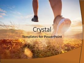 PPT theme featuring outdoor cross-country running background and a coral colored foreground