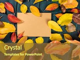Colorful slide deck enhanced with overhead photo of autumn leaves on recycled brown kraft paper on a dark rustic background with a place for text a fall design template backdrop and a tawny brown colored foreground.