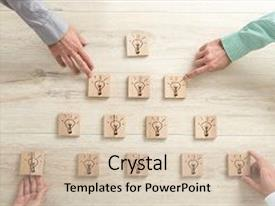 Slides consisting of overhead view of four business people placing wooden blocks with light bulbs in a form of a pyramid conceptual of teamwork strategy and vision background and a lemonade colored foreground.
