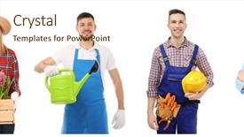 Presentation theme enhanced with owners of different small business background and a cream colored foreground