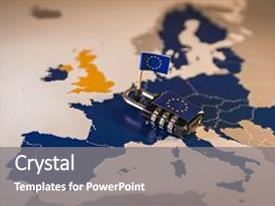 Presentation design having padlock over eu map symbolizing the eu general data protection regulation or gdpr designed to harmonize data privacy laws across europe background and a gray colored foreground.