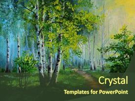 PPT theme enhanced with oil - painting landscape - birch forest background and a tawny brown colored foreground.