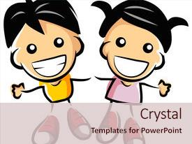 PPT theme with pair of small children who background and a lemonade colored foreground.