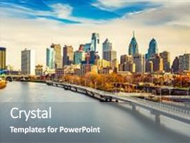 Amazing slide deck having panoramic picture of philadelphia skyline backdrop and a gray colored foreground.