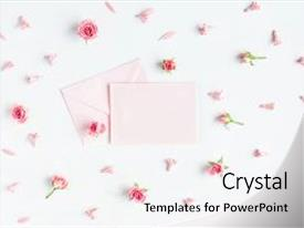 Beautiful presentation theme featuring paper blank and pink flowers backdrop and a  colored foreground.