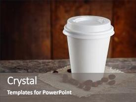 PPT theme enhanced with paper cup of coffee background and a gray colored foreground.