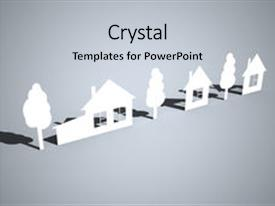 PPT theme with paper houses and trees background and a light gray colored foreground.