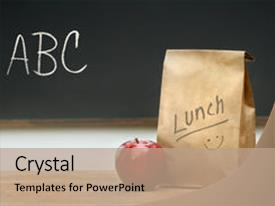 Colorful PPT Layouts Enhanced With Paper Lunch Bag On Desk Backdrop And A Colored Foreground