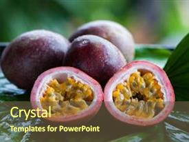 Presentation theme enhanced with passion fruit whole and slise background and a tawny brown colored foreground.