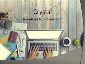 PPT theme enhanced with passport on wooden table background background and a light gray colored foreground.