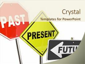 PPT theme having past present future looking moving background and a cream colored foreground.