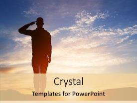 Beautiful presentation theme featuring patriotic - soldier salute silhouette on sunset backdrop and a blonde colored foreground