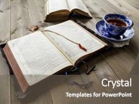 Presentation consisting of bible - peaceful christian religious scene background and a gray colored foreground.