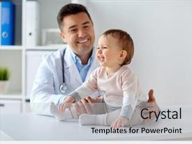 Amazing PPT layouts having pediatrician holding baby on medical backdrop and a light gray colored foreground