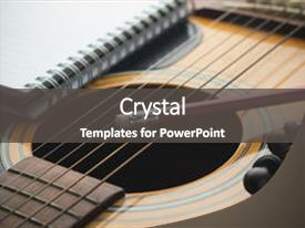 Theme with pencil on guitar writing music background and a dark gray colored foreground.