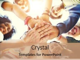 Cool new theme with people - college students teamwork stacking hand backdrop and a coral colored foreground