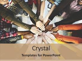 Presentation theme enhanced with people - group of diverse hands together background and a coral colored foreground