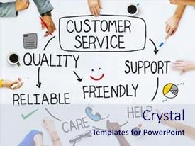 Beautiful PPT theme featuring people and customer service backdrop and a sky blue colored foreground