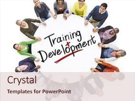 PPT theme with people and word training background and a sky blue colored foreground