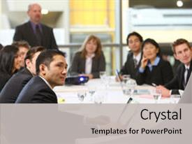 Audience pleasing theme consisting of people in board room meeting backdrop and a light gray colored foreground.