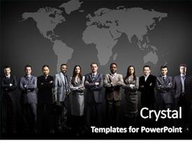 Presentation theme consisting of people team with world map background and a black colored foreground