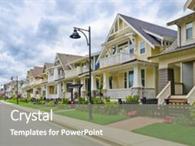 Cool new PPT theme with real estate - perfect neighborhood houses in suburb backdrop and a gray colored foreground