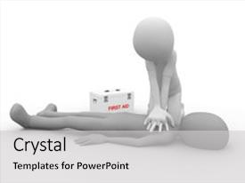 Slides featuring performing a cpr first aid background and a light gray colored foreground.