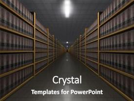 PPT theme featuring perspective illustration of lots of law books background and a dark gray colored foreground