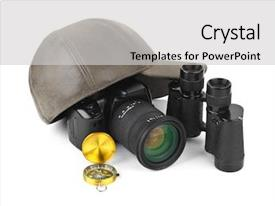 Cool new presentation with photo camera compass binoculars backdrop and a light gray colored foreground