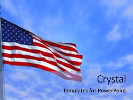 Presentation design with photo of an american flag background and a light blue colored foreground.