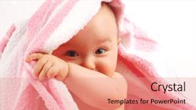 Colorful PPT theme enhanced with photo of happy baby girl backdrop and a coral colored foreground.