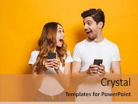 PPT theme with photo of positive excited people background and a gold colored foreground