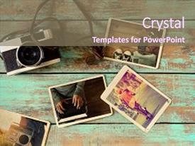 Presentation design having album collage - photo of retro camera  background and a violet colored foreground.