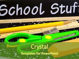 PPT theme featuring photo of school supplies background and a tawny brown colored foreground.