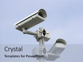PPT theme consisting of police - photo of the surveillance camera background and a light blue colored foreground.